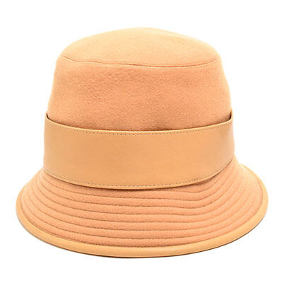 bf7a8bead7904 Auth HERMES Women s Hat Cashmere Leather Camel Size 58 M 7 1 4  np01070061