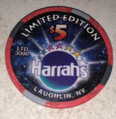 Harrahs $5 Casino Chip Laughlin Nevada 2.99 Shipping