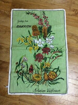 Vintage  Collectable Wildflowers  Colourful Tea  Towel