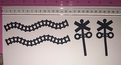 Die Cuts! 4 Pc 'Train Tracks + Signal Boxes' Black Or You Choose Colours