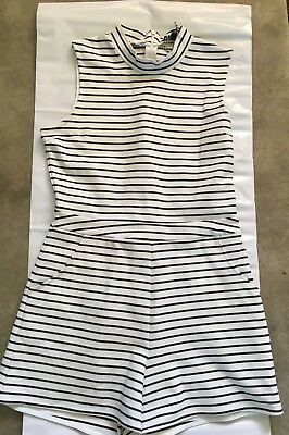 Girls Size Large White and Black Summer Jumpsuit