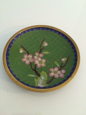 Cloisonné Small Plate.With Pink  Flowers. 9cm In Diameter.