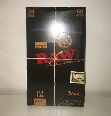 Raw Classic Black 1 1/4 Size Rolling Paper 24 Packs 50/pk (1,200 Leaves Total)