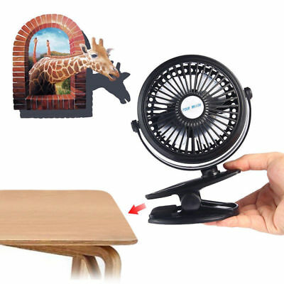 Portable Mini Table Fan USB Power Clip On Desk Cooling For Baby Stroller and Car