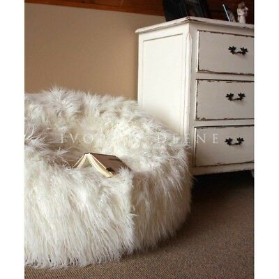 FUR BEANBAG Cover Soft White Bedroom Luxury Polo Bean Bag Lounge Movie Chair