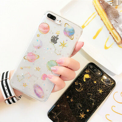 Glitter Space planet Soft Silicon TPU phone Case Cover for iphone X 6s 7 8 Plus