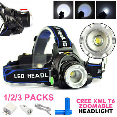 Headlamp Rechargeable Headlight 35000LM Zoomable LED CREE XML T6 Head Torch 2018