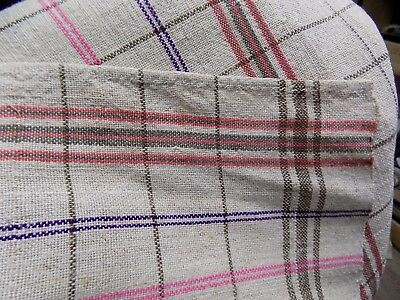 Antique Interesting homespun Flax&Cotton mix Fabric 1940s 3,2x0,59m Great condit