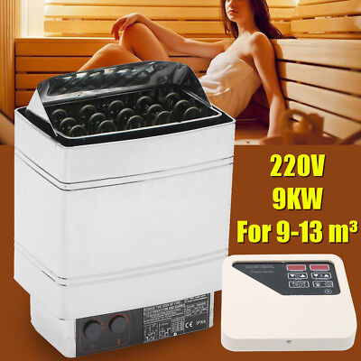 Wet Dry Sauna Heater Stainless Steel Stove External Control Shower Spa 220V 9KW