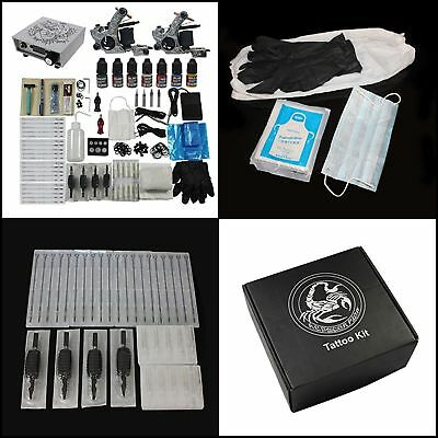 Professional Tattoo Machine Gun and Accessories Complete Kit Set w/ 7 Color Ink