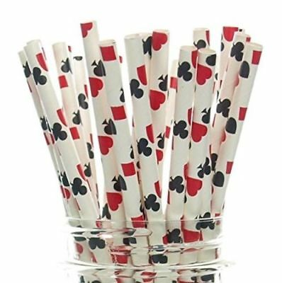 25pc Drink Paper Straws Birthday Party Casino Gambling Poker Card Game Las Vegas