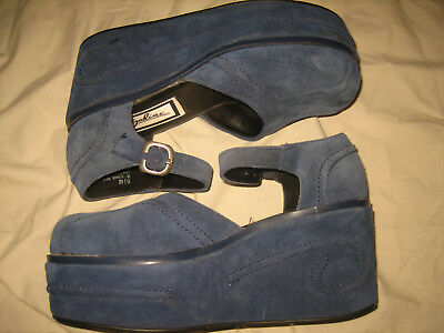 vtg 1990s ZODIAC Platform FLATFORM Leather SWIRL Sandal Shoes RARE AMAZING 5.5