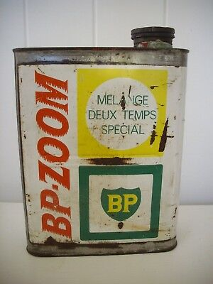 Rare BP Zoom 2 stroke Oil Tin Can - Classic 1960's French 2 Ltr.Oil Garage