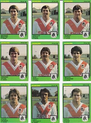 c1982 Scanles EASTS RUGBY LEAGUE FOOTBALL CARD Lot