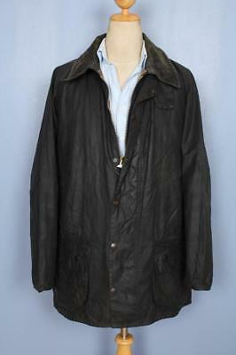 Mens BARBOUR Beaufort WAXED Jacket Navy Size 46