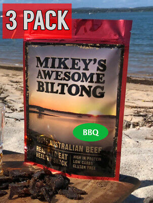 Mikeys Awesome Biltong - BBQ Flavour 225 grams - 3 Pack