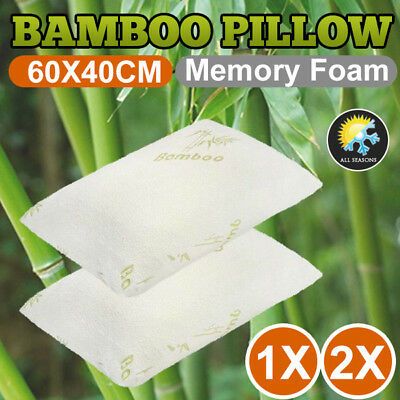 60 x 40cm Memory Foam Pillow Luxury Bamboo Fabric Fibre Cover Contour 1x 2x
