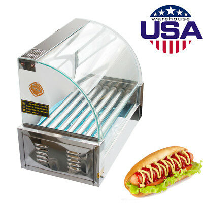USA Commercial 18 Hot Dog Hotdog 7 Roller Grill Cooker Machine With Cover 1050W
