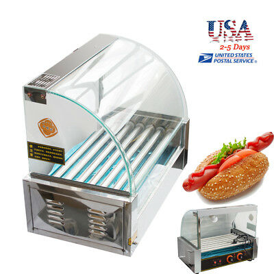 UPS Commercial 7 Roller 18 Hot Dog Hotdog Grill Cooker Machine W/ Cover