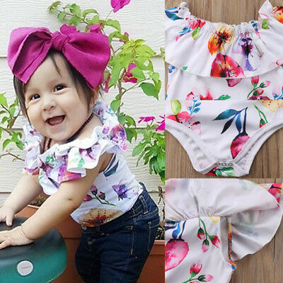 Newborn Baby Girl Romper Floral Bodysuit Sunsuit Summer Clothes Outfits 0-24M