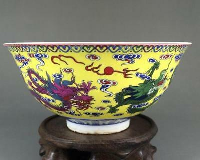 China old Colourful Porcelain Hand Painted Dragon Pattern Bowl/Qianlong Mark b01