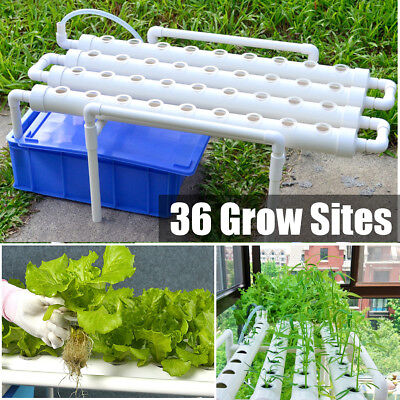 36 Sites 4 Pipes Hydroponic Grow Kit Ebb & Flow Deep Water Culture Garden System