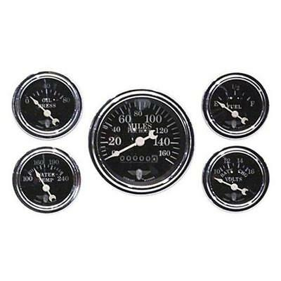 Stewart Warner 82227 Five Gauge Set, Electric/Mechanical, Black