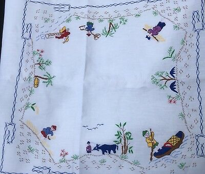 Vintage Hand Embroidered Tablecloth 6 Napkins - Asian Scenery - New In Packaging
