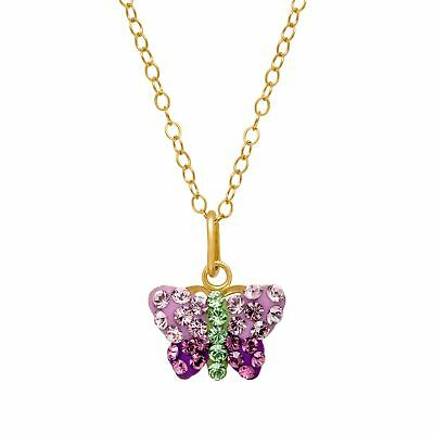 Crystaluxe Butterfly Pendant with Swarovski Crystals in 14K Gold-Plated Silver