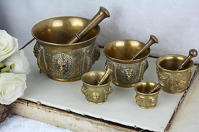 Vintage Set French Bronze Apothecary Mortar & pestle lion heads 1950's