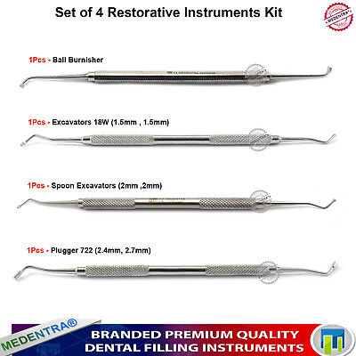 Dental Restorative Instruments Kit Set of 4 Composite Filling Burnisher Plugger