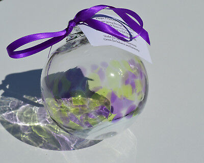10cm Hand Blown Glass Bauble Clear Glass with Green and Purple