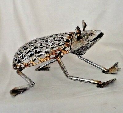"""Recycled Metal Frog from Scrap Home decor 7"""" Long  Figurine Home Decor Filigree"""