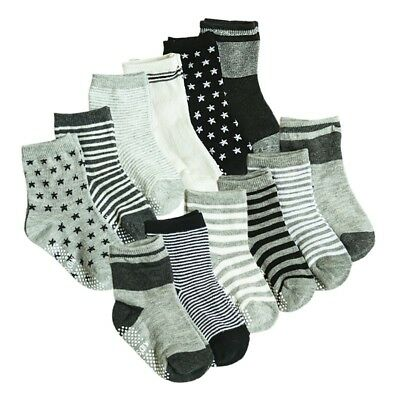 12 Pairs Toddler Baby Boys Anti Slip Crew Walkers Ankle Grip Socks Sets for 1-3T