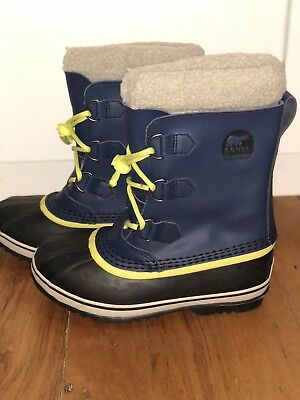 Euc As New Sorel Kids Youth Pac Leather Navy Waterproof Snow Boots Size 5 Us