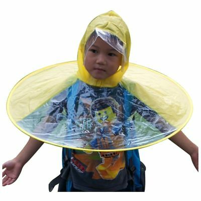 Kids Hands Free Foldable Wearable Raincoat Umbrella Hat For Raining Fun (Sm A6V7