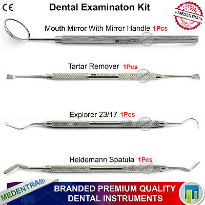 Dental Examination Kit Mouth Mirror Explorer Tartar Remover Heidemann Spatula CE