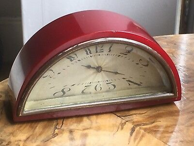 Rare art deco half moon clock - cherry red bakelite phenolic - tested 146g.