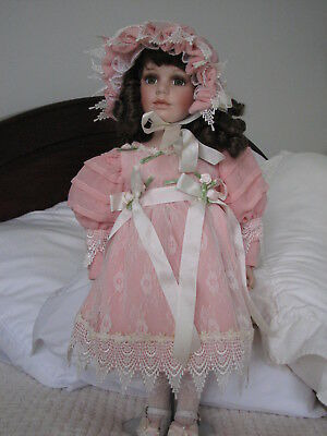 Beautiful Large PORCELAIN - CLOTH DOLL  54 cm. 'Sunday Best'. Display only.