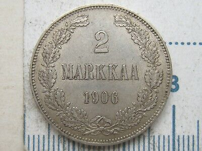 Russia/Finlad Silver 2 Markkaa 1906 long 2/3 Xf+/AU Condition !!!