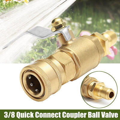 """Pressure Washer Shut Off Ball Valve 3/8"""" Quick Connect Plug Hose Fitting Coupler"""