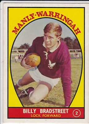 c1968 Scanlens MANLY-WARRINGAH Bradstreet RUGBY LEAGUE FOOTBALL CARD