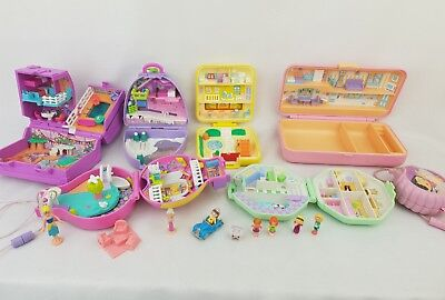 Vintage polly pocket bundle 7 compacts, cases. Figures . Excellent