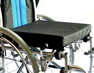 "Wheelchair seat cushion 18"" x 16"" x 2"" foam filling and canvas cover"