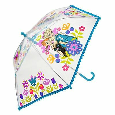ELSA & ANNA Clear Floral Fringe UMBRELLA NWT Disney Store STAMP on Tag~2014