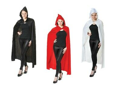 Long Hooded Cape Black / Red Fancy Dress Halloween Accessory