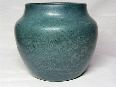 Hampshire Pottery, Large Frothy Matte Blue Squat Vase, Great Glaze~~~