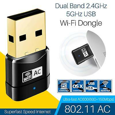 Dual Band 2.4GHz 5GHz 600Mbps USB WiFi Wireless Dongle AC600 Lan Network Adapter