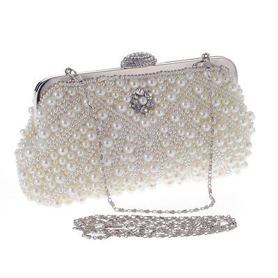 Bridal Wedding Prom Party Pearl Bag Women Chain Shoulder Bag Evening Clutch