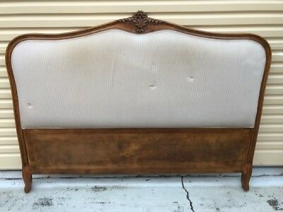 French Provincial Headboard Timber & Upholstered - Queen Size